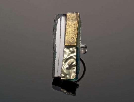 Anello specchio, smalti e ori veneziani su base argento