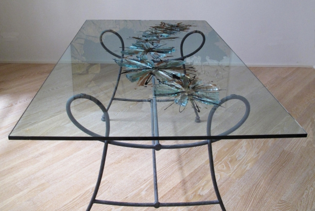 Table with recycled glass and mirror, paint -  190x100x70 cm.