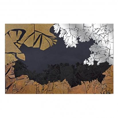 <b>Preghiera sul lago Biwa</b>, 2009.</br>  Frammenti di specchio e vetro di recupero, vernice, su tavola. 187 x 123 cm.