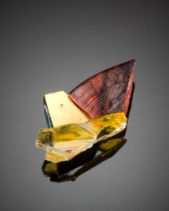 Brooch: crystal and venetian gold on steel base (8 cm)