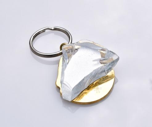 Portachiavi. Gioiello (4,5x4,5x1 cm) cristallo e bronzo