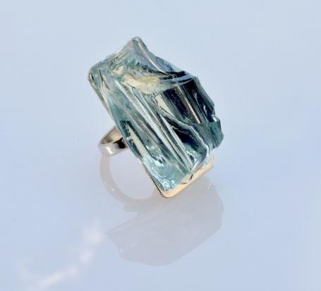 Anello (2x3,5x2 cm) cristallo e argento