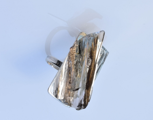 Anello (2x3,5x1 cm) cristallo, specchio e argento