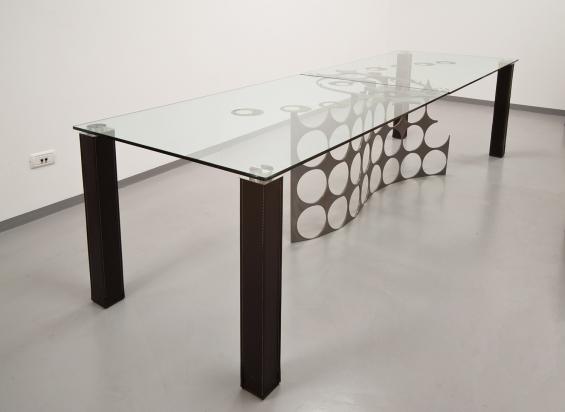Cristallo, ferro e acciaio con gambe in pelle - 90x300x75.30 cm, spessore 1cm