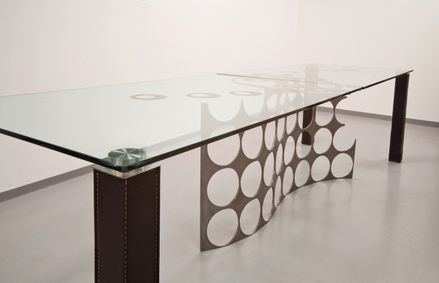 Crystal, iron and steel, legs of table in leather - 90x300x75,30 cm